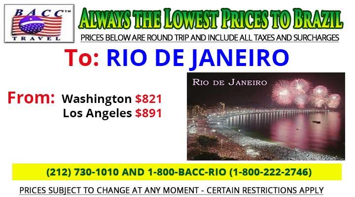 To Rio De Janeiro Wednesday Special Deals