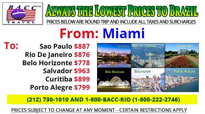 Miami to Brazil Specials
